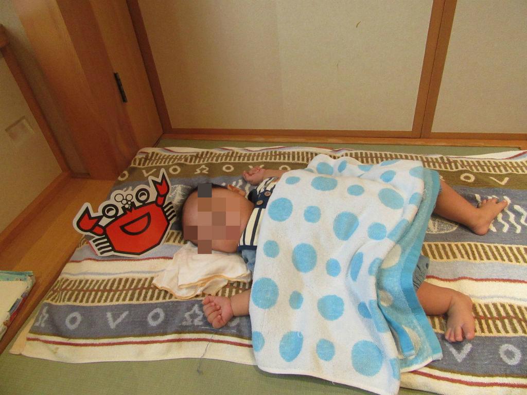 甲羅お食い初めで用意してもらった赤ちゃんの布団